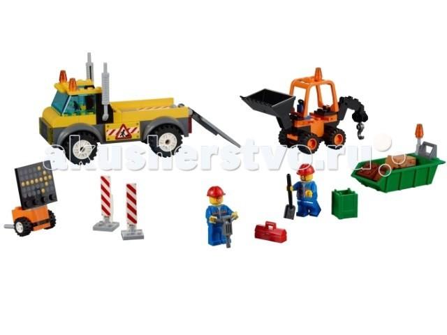 Конструктор Lego Juniors Грузовик дорожных службJuniors Грузовик дорожных службКонструктор Lego Juniors Грузовик дорожных служб - чтобы отремонтировать дорожное полотно, необходимо разровнять грунт и вывести лишние камни.   Используй Грузовик дорожных служб, чтобы помочь рабочим перевезти экскаватор и приступить к подготовке строительной площадки! Грузовик окрашен в желтый цвет, оборудован мигалками и наклейками со специальным знаком. Чтобы погрузить транспорт, используй откидной пандус в задней части грузовика.  Небольшой оранжевый экскаватор оснащен ковшом и лебедкой сзади, чтобы поднимать тяжелые блоки. Увези строительный мусор, погрузив контейнер на грузовик с помощью мини-экскаватора!  Также в наборе 2 минифигурки рабочих и множество аксессуаров для реалистичной игры: 2 каски, лопата, отбойный молоток, кейс для инструментов, дорожные знаки, предупреждающие о ремонтных работах.  Количество деталей: 132<br>