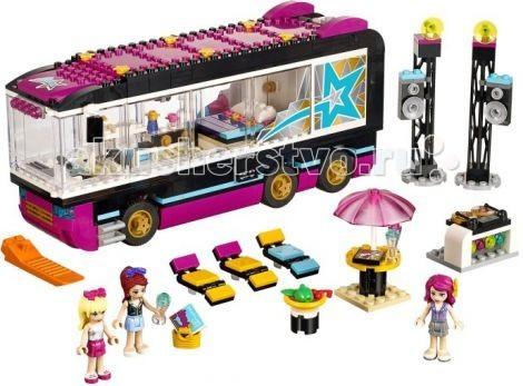 Конструктор Lego Friends Поп звезда: гастролиFriends Поп звезда: гастролиКонструктор Lego Friends Поп звезда: гастроли - передвижная комфортабельная квартира, позволяющая известным исполнителям путешествовать по соседним городам и организовывать выступления для своих фанатов.  В большом розовом фургоне есть все необходимое. Девушки смогут отдохнуть на просторной кровати, принять ванну или поделиться секретами в обеденной зоне. Прозрачные стекла позволят наблюдать за действием внутри, а множество оригинальных аксессуаров придадут занятиям реалистичность.   Насыщенные цвета разбудят детскую фантазию. При необходимости малышка организует большой пикник на природе. Для этого в наборе имеются шезлонги, имитация еды, столик с навесом, музыкальная установка и стойки с динамиками.  Для более реалистичной игры в интерьере, можно воспользоваться функцией трансформации автобуса, при которой кабина и комната отдыха остаются на месте, а багажник отъезжает назад. Это достигается благодаря сложной системе подвесок и независимых задних колёс.  Также из деталей набора Вы сможете построить небольшую концертную площадку, состоящую из диджейского пульта, двух стоек с динамиками и прожекторами, трёх шезлонгов и столика с прохладительными напитками.  В наборе три фигурки с аксессуарами: Ливи, Стефани, Мия.  Количество деталей: 681<br>