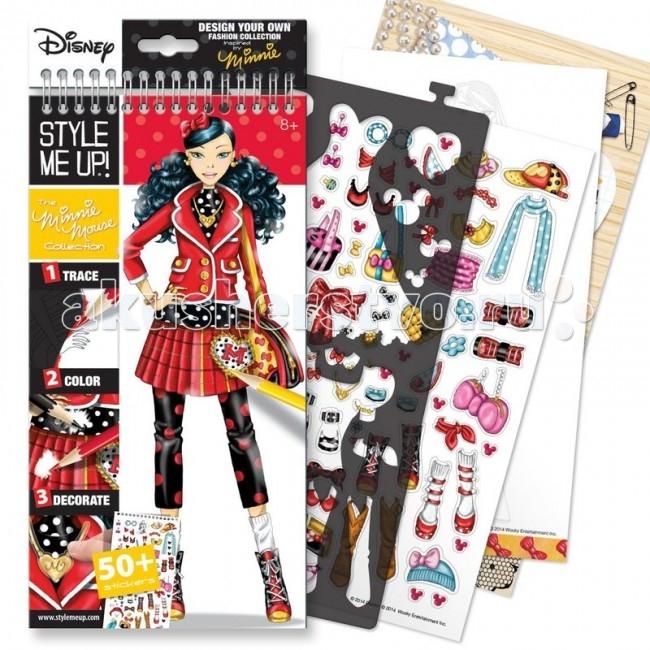 Wooky Style Me Up Блокнот с трафаретами Disney Коллекция Минни МаусStyle Me Up Блокнот с трафаретами Disney Коллекция Минни МаусWooky Style Me Up 2206 Блокнот с трафаретами DISNEY Коллекция Минни Маус.  Блокнот с трафаретами STYLE ME UP! Коллекция Минни Маус - это отличный набор для детского творчества, который без сомнения придется по душе юному дизайнеру. С таким блокнотом девочка ощутит себя настоящим профессионалом и создаст потрясающую коллекцию одежды в стиле Минни Маус. С помощью пластиковых трафаретов необходимо нарисовать одежду для моделей. Для этого необходимо приложить выбранный трафарет к ее силуэту на листе и обвести карандашом по контуру. Трафареты вырезаны на гибком пластиковом листе, который легко снимается с колец, и так же легко вставляется обратно.  Силуэты моделей черно-белые, а это значит, что о прическе и макияже тоже придется позаботиться. Листы блокнота достаточно плотные - можно рисовать и карандашами, и фломастерами, кроме того, у блокнота есть картонная подложка, для рисования не нужен стол, можно рисовать положив рабочий блокнот на коленки. Стикеры из набора помогут завершить образ модели. Рисование по трафаретам тренирует руку, а создание внутри этих контуров собственных моделей развивает воображение. Кроме того, девочки развивают художественный вкус, чувство стиля, учатся сочетать цвета и предметы гармонично.  В набор входят: 40 страниц с эскизами 16 листов с идеями 4 листа с трафаретами Более 50 стикеров Инструкции.<br>