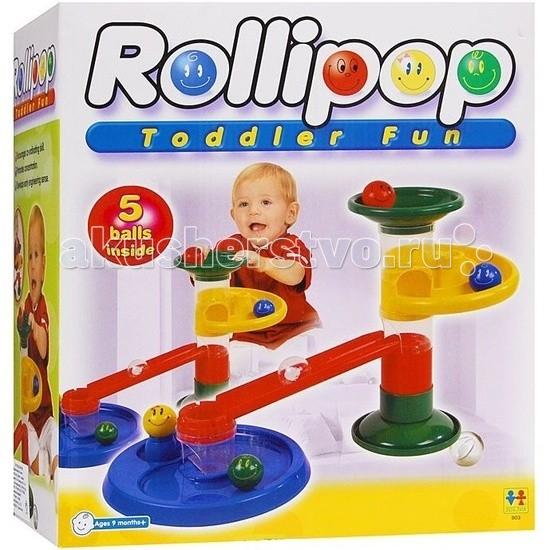 Конструктор Tototoys Крутые виражи Rollipop (10 деталей + 5 шаров)Крутые виражи Rollipop (10 деталей + 5 шаров)Конструктор TotoToys 803 Крутые виражи Rollipop 10 Дет. + 5 Шаров. Конструктор TOTOTOYS Роллипоп 10 Деталей + 5 Шаров может стать первым конструктором ваших детей, ведь с ним можно играть начиная с 9 месяцев. C помощью конструктора можно построить простой лабиринт, по которому будут кататься шарики. Сначала нужно соединить цветные детали, создавая лабиринт для шариков, а затем смотреть, как шарики катятся по созданной трассе. Малышу будет очень весело запускать в лабиринт шарики и смотреть, как они крутятся, падают и съезжают с горки.  В конструкторе крупные детали, поэтому малышу будет удобно играть с ними. В комплекте трубки для построения вертикалей, воронка, круговые дорожки, шарики диаметром 4,5 см. На шариках нарисованы симпатичные рожицы, которые будут улыбаться малышу во время игры. Конструктор Роллипоп 10 Деталей + 5 Шаров отлично развивает пространственное и логическое мышление, воображение, концентрацию внимания, мелкую моторику рук, цветовое и звуковое восприятие.<br>