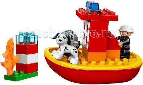 Конструктор Lego Duplo Пожарный катерDuplo Пожарный катерКонструктор Lego Duplo Пожарный катер - ришло время познакомить малыша с самыми интересными профессиями!  Бесстрашный пожарный и его верный пёс патрулируют морскую гавань. Вдруг, вдалеке, они замечают языки пламени. Это горит маяк! Включив сигнальные огни, герои направляют свой скоростной катер в сторону возгорания. Прибыв на место и надев защитную каску, пожарный разматывает водонапорный шланг и направляет струю воды в сторону пламени. Через мгновение пожар потушен, и работа маяка восстановлена.<br>