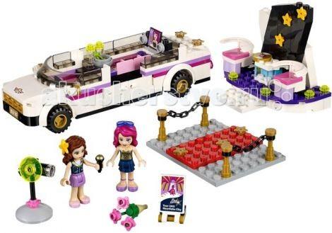Конструктор Lego Friends Поп звезда: лимузинFriends Поп звезда: лимузинКонструктор Lego Friends Поп звезда: лимузин - создан специально для поездок известной поп-звезды Ливи.  В комплект входит огромное количество аксессуаров и принадлежностей. Каждая деталь выполнена с предельной точностью.  Лимузин не имеет крыши, что позволяет детально рассмотреть его интерьер. Его вытянутый корпус выполнен в белом цвете с добавлением контрастных полос и золотых элементов. Спереди располагается кабина водителя, окружённая тонированным ветровым стеклом. За ней виден просторный салон, в котором есть всё необходимое для комфортных путешествий: удобный розовый диван, мини-бар с прохладительными напитками и телевизор с плоским экраном и большими колонками. Для эффектного выхода из автомобиля для Ливи установили распашные дверцы, которые позволяют легко покинуть салон и не помять концертный наряд.  Размер лимузина в собранном виде составляет 4 &#215; 17 &#215; 5 см   Также из деталей набора Вы сможете построить красную ковровую дорожку с оградой и телевизионную студию для интервью.  Количество деталей: 265<br>