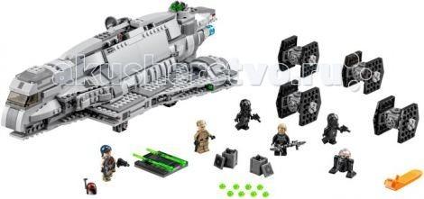 Конструктор Lego Star Wars 75106 Лего Имперский десантный корабльStar Wars 75106 Лего Имперский десантный корабльКонструктор Lego Star Wars Имперский десантный корабль - является чем-то средним между транспортным и боевым кораблём. Его можно встретить даже в самых удалённых уголках Галактики, так как из-за сравнительно невысокой стоимости и возможности модернизации его могли себе позволить не только имперские лидеры, но и частные перевозчики и даже пираты.  Практически весь крейсер состоит из серых деталей двух оттенков, такая цветовая гамма добавляет ему дополнительные грозность и величие.  В хвостовой части крейсера расположено три мощных двигателя, на концы которых крепятся прозрачные детали голубого цвета, имитирующие работу двигателей.   По бокам от двигателей, между двух частей крыльев, находятся пружинные механизмы с ракетками зеленого цвета (ракетки могут вылетать при нажатии на их хвосты). Всего в комплект входит четыре залпа.  Над центральным двигателем и под дном корабля установлены небольшие турели, сделанные из двух кликшутеров с зелеными снарядами. Прокручиванием центрального двигателя вокруг своей оси, вы приведете в движение турели.  Фюзеляж крейсера покрыт множеством различных мелких деталей (плоскими тайлами, небольшими скосами и решетками), придающих модели стильную рельефность.   В носовой части расположен сквозной отсек, с двух сторон закрытый тонкими пластинками. Пластинки открываются к носу, внутри отсека находится платформа с крепежами для пары ракет. Платформу можно выдвинуть из отсека.  Кабина у корабля небольшая (хочется отметить, что набор сделан не в масштабе фигурки), открыть в нее доступ можно подняв стекло с частью фюзеляжа назад кверху. Внутри кабины расположено сиденье для пилота (в него можно усадить фигурку) и рычаг.   За кабиной находится длинный технический отдел. Доступ в отдел открывается за счет поднятия боковых стенок или целой верхней части корпуса. В центре технического отдела установлен специальный крючок, за который можн