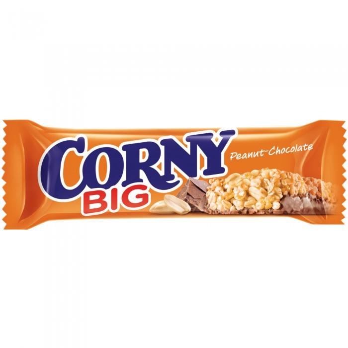 Corny Злаковый батончик Big с арахисом и молочным шоколадом 50 гЗлаковый батончик Big с арахисом и молочным шоколадом 50 гБатончик Corny Big злаковый с арахисом и молочным шоколадом 50 гр.  С раннего детства мы считали: все, что полезно, — невкусно и скучно. Все, что вкусно и весело, — или запрещено, или можно только по праздникам. Но теперь ситуация изменилась! Corny — продукт, в котором удовольствие, польза и энергия находятся в идеальном равновесии.  Питательные, вкусные и очень полезные батончики Corny понравятся одинаково детям и взрослым.  В состав батончиков Corny входят целых 5 видов цельных злаков: овёс, рис, кукуруза, пшеница и ячмень. Именно поэтому Corny — это вкусная и здоровая альтернатива традиционным снекам: шоколадным плиткам, чипсам и булкам. Медленные углеводы заряжают полезной энергией, а удобная форма и упаковка соответствуют быстрому ритму жизни. Помимо злаков в состав батончиков входят фрукты, орехи, мёд и шоколад. Эти ингредиенты делают продуктовую линейку разнообразной, а, значит, вы точно найдете батончик на свой вкус. Продукт не содержит ГМО, искусственных красителей и консервантов.  Состав: обжаренный арахис 24%, молочный шоколад 20% (сахар, какао тертое, масло какао, обезжиренное сухое молоко, масло сливочное, эмульгатор подсолнечный лецитин), сироп глюкозы с фруктозой, обжаренные злаковые хлопья 15% (овсяные, пшеничные), мука (пшеничная, рисовая, кукурузная), сироп глюкозы, коричневый сахар, кукурузные хлопья (кукуруза, сахар, соль, ячменный солод), кокосовое масло, сахар, мед, соль, ячменный солод, сироп карамелизированного сахара, эмульгатор подсолнечный лецитин. Может содержать следы фундука и миндаля.  Пищевая ценность (100 г): энергетическая ценность: 470 ккал  белок: 10.8 г углеводы: 53.6 г жир: 23.6 г<br>