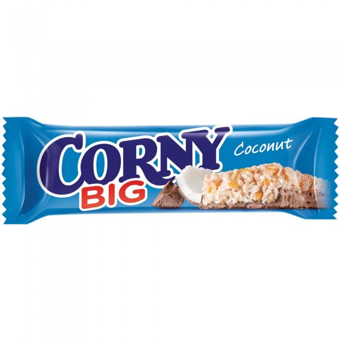 Corny Злаковый батончик Big с кокосом и молочным шоколадом 50 гЗлаковый батончик Big с кокосом и молочным шоколадом 50 гБатончик Corny Big злаковый с кокосом и молочным шоколадом 50 гр.  С раннего детства мы считали: все, что полезно, — невкусно и скучно. Все, что вкусно и весело, — или запрещено, или можно только по праздникам. Но теперь ситуация изменилась! Corny — продукт, в котором удовольствие, польза и энергия находятся в идеальном равновесии.  Питательные, вкусные и очень полезные батончики Corny понравятся одинаково детям и взрослым.  Состоит из 17% кокосовой стружки, 20% молочного шоколада, 7% обжаренных цельных злаков и 56% злаковой смеси, меда, сахара и сиропа. В состав батончиков Corny входят целых 5 видов цельных злаков: овёс, рис, кукуруза, пшеница и ячмень. Именно поэтому Corny — это вкусная и здоровая альтернатива традиционным снекам: шоколадным плиткам, чипсам и булкам. Медленные углеводы заряжают полезной энергией, а удобная форма и упаковка соответствуют быстрому ритму жизни. Помимо злаков в состав батончиков входят фрукты, орехи, мёд и шоколад. Эти ингредиенты делают продуктовую линейку разнообразной, а, значит, вы точно найдете батончик на свой вкус. Продукт не содержит ГМО, искусственных красителей и консервантов.  Состав: молочный шоколад, обжаренная кокосовая стружка, сироп глюкозы, сироп глюкозы с фруктозой, злаковые хлопья (пшеница, кукуруза, рис), обжаренные злаковые хлопья (овёс, пшеница), кокосовое масло, сахар, кукурузные хлопья, стабилизатор глицерин, соль, эмульгатор подсолнечный лецитин, натуральный ароматизатор «Кокос». Может содержать следы фундука, миндаля и арахиса.  Пищевая ценность 1 батончика (50 г): энергетическая ценность: 231 ккал / 966 кДж белок: 2.4 г углеводы: 28.6 г жир: 11.3 г<br>