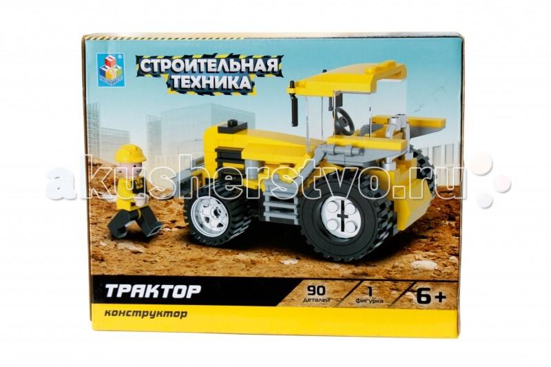 Конструктор 1 Toy Строительная техника Трактор (90 деталей)