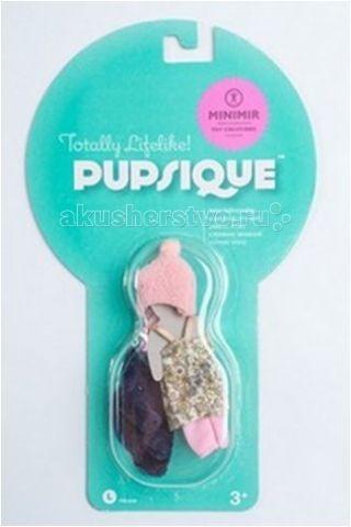 Pupsique Пестрое платьеПестрое платьеОригинальная дизайнерская одежда, сделанная по авторским эскизам для миниатюрных кукол Pupsique формата 110 мм.   Комплект одежды включает: пестрое платье, тёмно-синий жакет, розовая шапочка, штанишки, розовые туфельки.   Состав: Текстиль, Полимерные материалы.  Одежда упакована в блистерную упаковку.<br>
