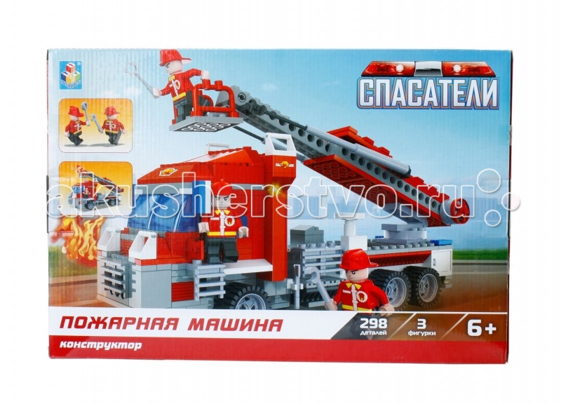 Конструктор 1 Toy Спасатели Пожарная машина (298 деталей)