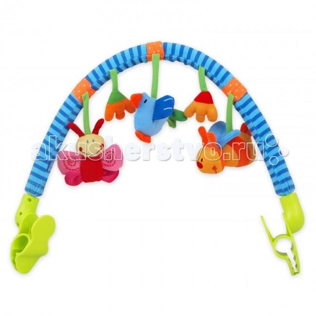 Baby Mix Развивающая дуга ЛугРазвивающая дуга ЛугРазвивающая дуга Луг обязательно понравится малышу, ведь с яркими игрушками крохе не придется скучать на прогулке или в поездке. Эта дуга имеет универсальное крепления, что позволяет присоединить ее к бортикам коляски-люльке, прогулочному блоку или же автокреслу.  Особенности: красивый дизайн удобные крепления-клипсы наличие развивающих элементов на самой дуге малыш учится захватывать предметы и удерживать их в руке ребенок фокусирует взгляд на подвешенных игрушках разнофактурные элементы способствуют развитию тактильного восприятия и мелкой моторики яркая расцветка дуги стимулирует развитие зрения<br>