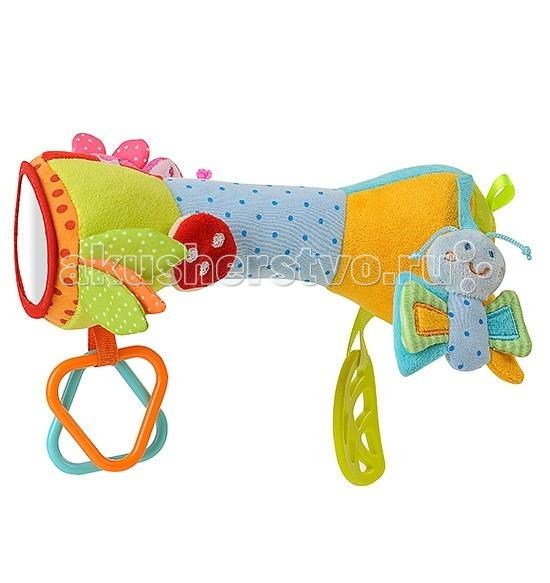 Развивающая игрушка BabyOno с погремушкой Валик с бабочкойс погремушкой Валик с бабочкойРазвивающая игрушка от BabyOno Валик с бабочкой.   Интересная и яркая игрушка, с музыкальными элементами, шуршащими листиками, зеркальцем.   Игрушка имеет кольца-погремушки которые непременно займут малыша.   Нажав на игрушку, вы услышите пищащий звук, а покачав ее вы услышите звук колокольчика (звоночка).   Размер игрушки 23 см.<br>