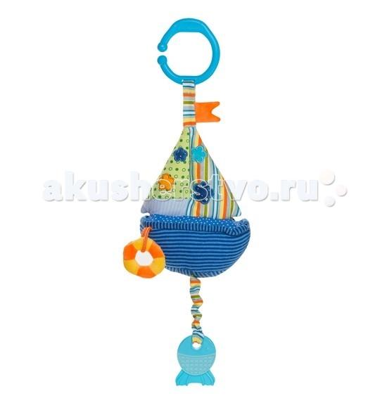Подвесная игрушка BabyOno Кораблик со звуком водыКораблик со звуком водыИгрушка велюровая с вибрацией и звуком воды Кораблик от BabyOno, яркая и функциональная развивающая игрушка, которая будет сопровождать малыша на прогулках и доставит много радости и удивления во время игры дома! Игрушку легко разместить практически в любом месте времяпрепровождения ребенка, будь то кроватка или манеж, коляска или автокресло! Изучать элементы, из которых состоит игрушка, невероятно интересно. Приятная на ощупь станет любимой для Вашего малыша!  Особенности: высококачественные материалы изготовления интересный дизайн и яркие цвета стимулируют малыша к игре есть прочное кольцо, за которое можно повесить игрушку прорезыватель в виде рыбки успокаивает зуд дёсен в период появления первых зубов звук воды способствуют развитию слуха наблюдая за игрушкой, малютка учится концентрироваться и фокусировать взгляд на объекте различные цвета стимулируют развитие зрительных способностей и цветового восприятия трогая отдельные детали игрушки, ребенок тренирует мышцы пальчиков и развивает мелкую моторику развивает двигательные способности движение игрушки вызывает интерес и привлекает внимание ребёнка игрушка учит ребёнка различать формы размер игрушки (с подвесом): 37 см.<br>