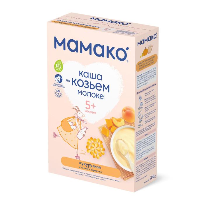 Мамако Молочная кукурузная каша с тыквой и абрикосом на козьем молоке с 4 мес. 200 гМолочная кукурузная каша с тыквой и абрикосом на козьем молоке с 4 мес. 200 гМамако Молочная кукурузная каша с тыквой и абрикосом на козьем молоке – это вкусное, легко усваиваемое, здоровое питание на козьем молоке без глютена, без сахара, без соли, которое идеально подходит для первого прикорма с 4 и 5 месяцев.  Особенности: Основная ценность кукурузной крупы-это ее жиры. Они богаты полиненасыщенными жирными кислотами, способствующими развитию мозга.  Кукурузная крупа содержит до 70% медленных углеводов. В результате их постепенного превращения в глюкозу организм ребенка надолго запасается энергией. Клетчатка тыквы и абрикоса оказывает легкое послабляющее действие на организм малыша, а инулин, содержащийся в абрикосе, улучшает микрофлору кишечника. Кукуруза, тыква и абрикос -источники бета-каротина (провитамина А), улучшающего зрение и способствующего естественному формированию хорошего иммунитета Маленькие жировые глобулы, образуемые козьим молоком, не склеиваются вместе, а белки образуют более мягкий и рыхлый творожистый сгусток, поэтому каши на козьем молоке детским организмом перевариваются легче и быстрее в отличие от каш на коровьем. Козье молоко содержит в 6 раз больше белка альфа-лактальбумина, при переваривании которого образуются пептиды, обладающие антибактериальными и иммуностимулирующими свойствами. В составе каждой каши Мамако 32% козьего молока, что обеспечивает высокое содержание кальция в одной порции каши (40% суточной нормы), а лактоза козьего молока обеспечивает его лучшее усвоение и оказывает пребиотический эффект. Козье молоко обладает низкой аллергенностью, за счет отсутствия альфа-s1-казеина - основного аллергена коровьего молока. Молоко в кашах Мамако сертифицировано по стандартам «Халяль» и кошерности. Каждая порция каши Мамако содержит 13 витаминов (A, D, E, K, C, B1, B2, B6, B12, ниацин, фолиевая кислота, пантотеновая кислота, биотин) и важные для развити