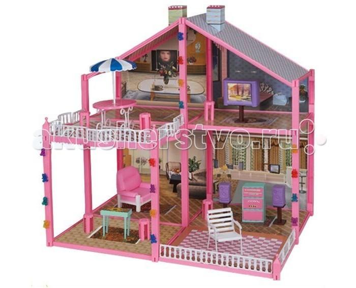 1 Toy Кукольный домик Красотка (133 детали 4 комнаты)Кукольный домик Красотка (133 детали 4 комнаты)Дома для кукол - одна из самых любимых игрушек у девочек!   Кукольные домики обладают широкими возможностям моделирования различных ситуаций кукольной жизни в игре.  У домиков 1 Toy Красотка отсутствует передняя стенка, что позволяет с лёгкостью расставлять мебель и мелкие игрушки внутри.   модель очень проста в сборке состоит из четырёх комнат и рассчитана на кукол размером 29 см<br>