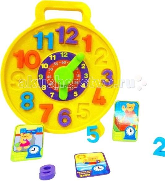 Simba ABC ЧасикиABC ЧасикиПазлы Simba ABC Часики   С этими красочными часиками-пазлами ваш малыш в ненавязчивой игровой форме научится определять время.   Особенности:    Изделие оснащено специальным колесиком, которое вращает стрелки на циферблате.   В центре часиков есть наклейка с указанием минут, а по краям предусмотрены выемки для цифр.   В комплекте также есть красочные карточки с интересным распорядком дня.   Размер: 29 см<br>