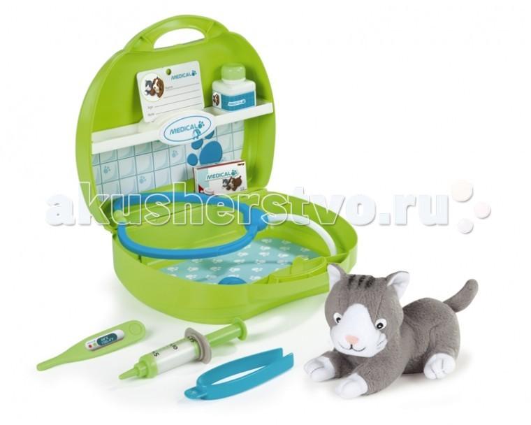 Smoby Набор доктора-ветеринараНабор доктора-ветеринараНабор доктора ветеринара Smoby в чемоданчике со всем необходимым для лечения зверюшек.    В наборе: чемоданчик, мягкая игрушка (собачка или котенок), шприц, стетоскоп, градусник, пинцет и др., всего 8 аксессуаров.<br>