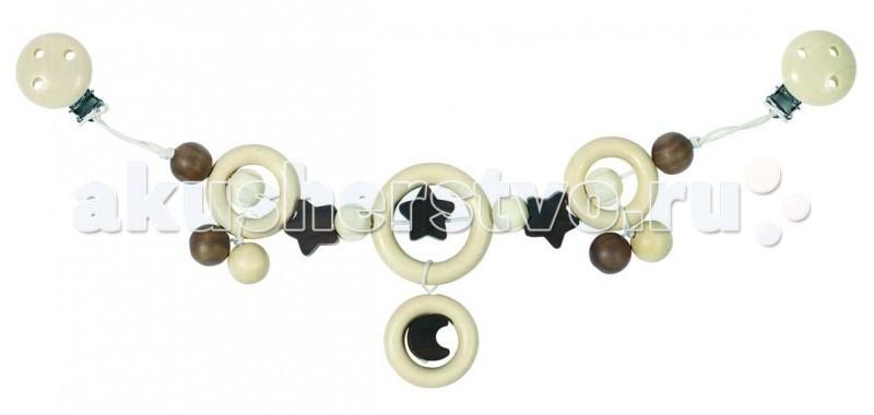 Деревянная игрушка Heimess Растяжка на коляску неокрашенная Луна и звездыРастяжка на коляску неокрашенная Луна и звездыДеревянная игрушка Heimess Растяжка на коляску неокрашенная Луна и звезды - стильная, нежная и очень красивая игрушка-растяжка для ценителей минимализма в цветах.   Благодаря удобному креплению растяжка на клипсах может крепиться не только на коляску, но и на автокресло, а также прикрепляться к любым текстильным поверхностям. У игрушки есть маленький колокольчик.  Растяжка на коляску изготовлена из натурального дерева без окраса.<br>