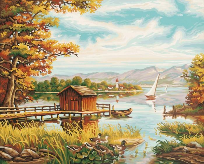 Schipper Картина по номерам На берегу озера 40х50 смКартина по номерам На берегу озера 40х50 смКартина по номерам Schipper На берегу озера   Особенности:    Основа для картины имеет льняную структуру, поэтому готовая картина выглядит как настоящее произведение искусства.  Картина раскрашивается без смешивания красок.  Все необходимые цвета красок есть в комплекте. Просто закрашивайте участки красками с соответствующим номером.  В набор также входит фактурная картонная основа с пронумерованными контурами, кисть и контрольный лист, на котором вы можете потренироваться, прежде чем переходить к раскрашиванию основного листа.  Акриловые краски в данном наборе содержатся в очень плотно закрытых контейнерах. Благодаря этому, краски доходят до покупателя, сохранив свои свойства.   Кол-во цветов: 24 Размер: 40х50 см<br>