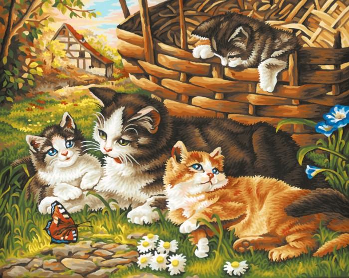 Schipper Картина по номерам Семейство кошачьих 40х50 смКартина по номерам Семейство кошачьих 40х50 смКартина по номерам Schipper Семейство кошачьих   Особенности:    Основа для картины имеет льняную структуру, поэтому готовая картина выглядит как настоящее произведение искусства.  Картина раскрашивается без смешивания красок.  Все необходимые цвета красок есть в комплекте. Просто закрашивайте участки красками с соответствующим номером.  В набор также входит фактурная картонная основа с пронумерованными контурами, кисть и контрольный лист, на котором вы можете потренироваться, прежде чем переходить к раскрашиванию основного листа.  Акриловые краски в данном наборе содержатся в очень плотно закрытых контейнерах. Благодаря этому, краски доходят до покупателя, сохранив свои свойства.   Кол-во цветов: 27 Размер: 40х50 см<br>