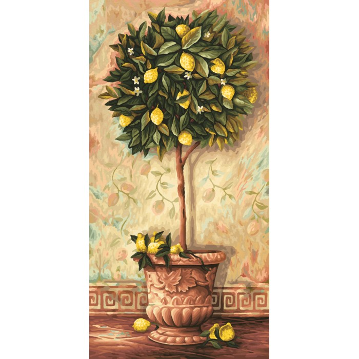 Schipper Картина по номерам Лимонное дерево 40х80 смКартина по номерам Лимонное дерево 40х80 смКартина по номерам Schipper Лимонное дерево   Особенности:    Основа для картины имеет льняную структуру, поэтому готовая картина выглядит как настоящее произведение искусства.  Картина раскрашивается без смешивания красок.  Все необходимые цвета красок есть в комплекте. Просто закрашивайте участки красками с соответствующим номером.  В набор также входит фактурная картонная основа с пронумерованными контурами, кисть и контрольный лист, на котором вы можете потренироваться, прежде чем переходить к раскрашиванию основного листа.  Акриловые краски в данном наборе содержатся в очень плотно закрытых контейнерах. Благодаря этому, краски доходят до покупателя, сохранив свои свойства.   Кол-во цветов: 36 Размер: 40х80 см<br>