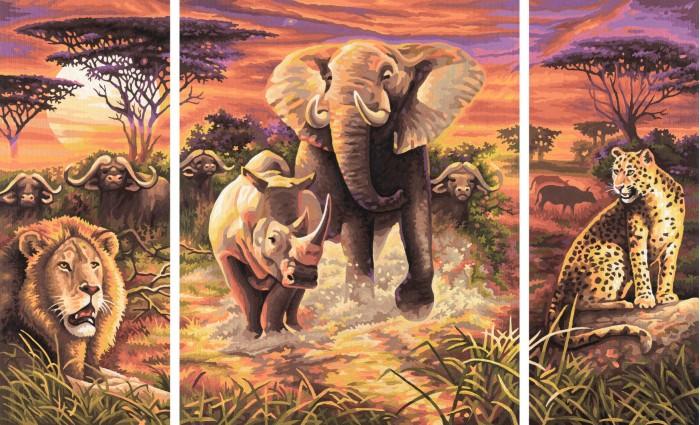 Schipper Картина по номерам Триптих Африка 50х80 смКартина по номерам Триптих Африка 50х80 смКартина по номерам Schipper Триптих Африка   Особенности:    Основа для картины имеет льняную структуру, поэтому готовая картина выглядит как настоящее произведение искусства.  Картина раскрашивается без смешивания красок.  Все необходимые цвета красок есть в комплекте. Просто закрашивайте участки красками с соответствующим номером.  В набор также входит фактурная картонная основа с пронумерованными контурами, кисть и контрольный лист, на котором вы можете потренироваться, прежде чем переходить к раскрашиванию основного листа.  Акриловые краски в данном наборе содержатся в очень плотно закрытых контейнерах. Благодаря этому, краски доходят до покупателя, сохранив свои свойства.   Кол-во цветов: 36 Размер: 50х80 см<br>