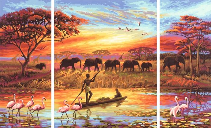 Schipper Картина по номерам Триптих Африка 50х80 смКартина по номерам Триптих Африка 50х80 смКартина по номерам Schipper Триптих Африка-Магический континент   Особенности:    Основа для картины имеет льняную структуру, поэтому готовая картина выглядит как настоящее произведение искусства.  Картина раскрашивается без смешивания красок.  Все необходимые цвета красок есть в комплекте. Просто закрашивайте участки красками с соответствующим номером.  В набор также входит фактурная картонная основа с пронумерованными контурами, кисть и контрольный лист, на котором вы можете потренироваться, прежде чем переходить к раскрашиванию основного листа.  Акриловые краски в данном наборе содержатся в очень плотно закрытых контейнерах. Благодаря этому, краски доходят до покупателя, сохранив свои свойства.   Кол-во цветов: 35 Размер: 50х80 см<br>