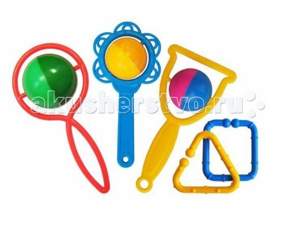 Погремушка Игрушкин Набор БутузНабор БутузНабор погремушек «Бутуз» включает в себя несколько изделий, которые способны тихонько позвякивать развлекая малыша.   Изготовлены они из высококачественной пластмассы, совершенно безопасной для детей.   В комплекте идут специальные элементы, которые позволяют скреплять несколько погремушек вместе. Эти же брелочки дают возможность вешать игрушки куда заблагорассудится.   Изделия обладают ярким и пестрым дизайном.  Цвета в ассортименте.<br>