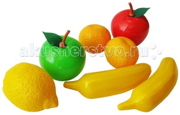 Игрушкин Набор фруктовНабор фруктовНабор пластиковых фруктов «Игрушкин» включает в себя изделия, изготовленные из безопасных для детей материалов.   Лакомства достаточно прочны, чтобы ребенок не мог прокусить их зубами.   Их размер довольно велик, поэтому проглотить фрукты целиком тоже не получится.   Использовать эти игрушки можно для многих целей.   Одной из них является игра в кухню или столовую. Кроме того, комплект может использоваться и в качестве элемента декора.  Комплект: 2 банана, 2 мандарина, красное яблоко, зеленое яблоко, лимон.<br>