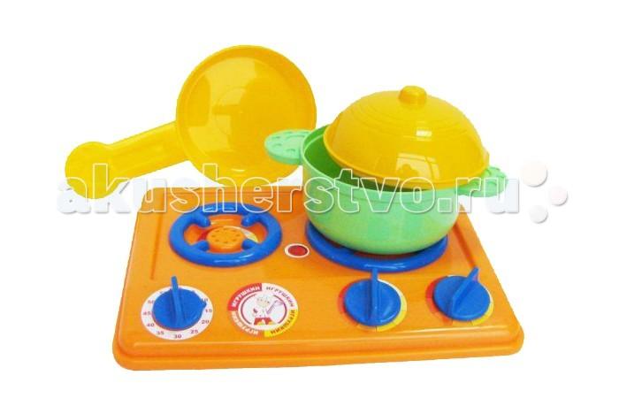 Игрушкин Набор посуды с плитойНабор посуды с плитойИгрушечная плита с посудой - это детская кухонная плита, которая очень понравиться маленькой хозяйке.   Яркая газовая двухконфорочная плита весьма компактна и проста в управлении.  Регуляторы конфорок и таймер крутятся, издавая характерный звук.  Набор для сюжетно-ролевых игр. Играя, дети в увлекательной форме обучаются многим реальным бытовым навыкам. Ведь готовить обеды и ужины для любимых кукол весело!<br>