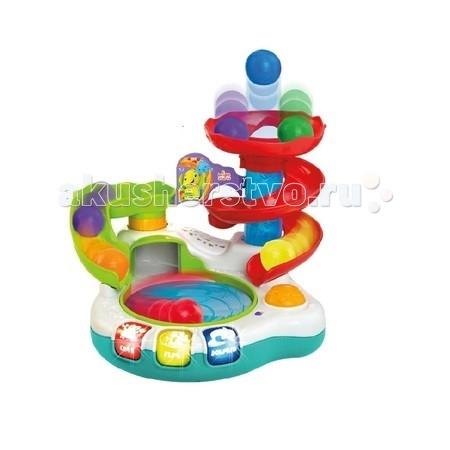 Развивающая игрушка Bright Starts АквапаркАквапаркРазвивающий игровой центр Bright Starts Аквапарк имеет 2 режима работы: обучение и игра.   В режиме обучения малыш сможет запомнить названия животных и их голоса, а также разные цвета. Для этого достаточно нажимать на подсвечивающиеся кнопки.  В режиме игры, мячики будут забавно кружиться внутри бассейна, сопровождаемые мигающими огоньками и мелодиями, пока постепенно не исчезнут один за другим, для того, чтобы волшебным образом возникнуть наверху игрового центра, на радость и удивление малышу.  Игровой центр подарит ребенку множество веселых часов, ведь обучение еще никогда не было таким захватывающим!  В комплект входит: игровой центр 6 мячиков  Наличие батареек: не входят в комплект<br>