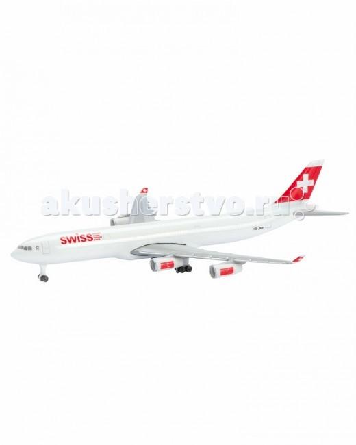 Schabak Коллекционный Самолет Swiss Air A340-300Коллекционный Самолет Swiss Air A340-300Коллекционный Самолет Schabak Swiss Air A340-300 - прекрасно детализированная копия настоящего авиалайнера, которую интересно изучать и исследовать.   Особенности:    Самолет с элементами пластика обладает потрясающей детализацией.   Модель выполнена из металла (цинк), на шасси и подставка.   Колеса не крутятся.  Яркий самолетик разнообразит игровые ситуации, откроет новые сюжеты для маленького летчика и поможет развить мелкую моторику рук, внимание и координацию движений.  Игра с ним подарит незабываемое времяпрепровождение, позволит вашему малышу почувствовать себя настоящим пилотом и научит бережно управляться с вещами.  Выполнен в масштабе 1:600.<br>