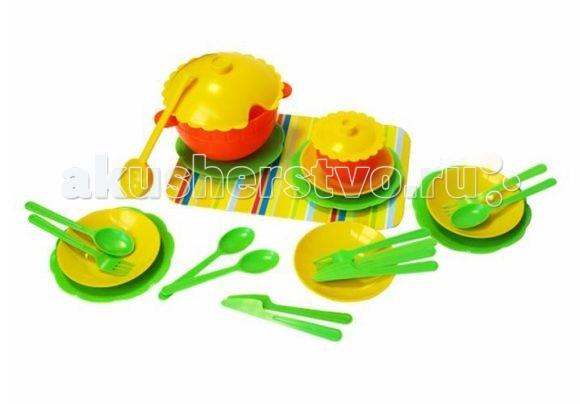 Игрушкин Набор посудыНабор посудыЯркий красочный набор посудки для маленькой хозяюшки.  Особенности: посудка изготовлена из качественной пластмассы яркие цвета, современный дизайн в комплекте есть оригинальный полосатый поднос вся посудка легко моется  В комплекте: кастрюля с крышкой, супница с крышкой, поварёшка, тарелки глубокие - 4 шт., тарелки мелкие - 4 шт., ложки - 4 шт., вилки - 4 шт., ножи - 4 шт<br>