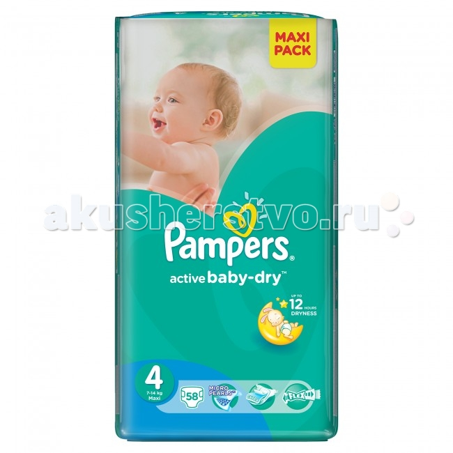 Pampers Подгузники Active Baby-Dry р.4 (7-14 кг) 58 шт.