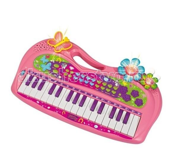 Музыкальная игрушка Simba Пианино FillyПианино FillyПианино Simba Filly с светящимися элементами и Filly-мелодией - это яркое пианино понравится вашей маленькой принцессе, которая увлечена музыкой, и любит играть интересные мелодии.  Пианино выполнено в розовом тоне, имеет 32 клавиши, несколько мелодий, а также световой эффект, который обязательно разнообразит его игру на пианино.    Особенности:    различные ритмы и звуки животных  функция записи музыкальных мелодий  функции уменьшения и увеличения громкости, темпа и прослушивания записанной мелодии   работает на батарейках (в комплект не входят)  кнопка Demo позволяет проигрывать мелодии (всего 8 штук)  кнопка Filly Song воспроизводит мелодии лошадок Фили  голубые сердечки передают основные ритмы: диско, рок, блюз, самба и т.п.  зеленые сердечки передают звучание музыкальных инструментов: пианино, гитара, орган и т.п.   кнопки-цветочки - это звуки животных (птички, утки, собачки, лягушки) или удачные инструменты<br>