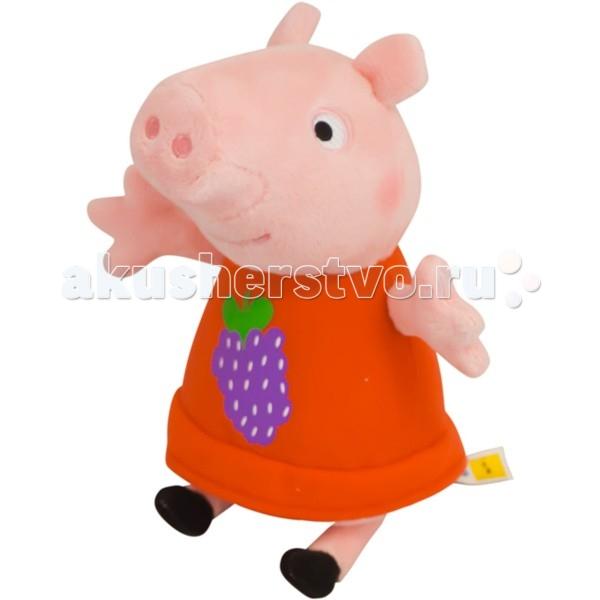 Мягкая игрушка Peppa Pig Пеппа с виноградом 20 смПеппа с виноградом 20 смМягкая игрушка Peppa Pig Пеппа с виноградом, с которой можно весело играть, развивая навыки общения и воображение. С любимым героем малютка будет делиться своими маленькими секретиками и безмятежно спать ночью – ведь в обнимку с плюшевым другом сон гораздо слаще!  Особенности: Мягкая игрушка «Свинка Пеппа» имеет высоту 20 см (размер указан с ножками) и очень приятна на ощупь, так как изготовлена из нежной велюровой ткани и плотно набита.  Глазки, носик и ротик Пеппы выполнены в виде плотной вышивки, а на платьице у нее красуется милая аппликация в виде грозди винограда.  Товар сертифицирован.<br>