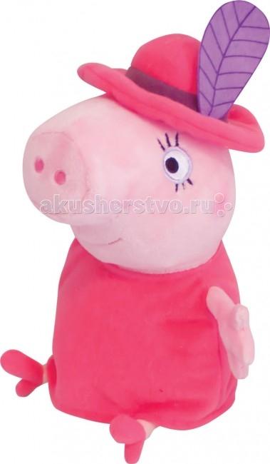 Мягкая игрушка Peppa Pig Мама в шляпе 30 смМама в шляпе 30 смМягкая игрушка Peppa Pig Мама в шляпе, с которой можно весело играть, развивая навыки общения и воображение. С любимым героем малютка будет делиться своими маленькими секретиками и безмятежно спать ночью – ведь в обнимку с плюшевым другом сон гораздо слаще!  Особенности: Мягкая игрушка «Мама в шляпе» имеет высоту 30 см (размер указан с ножками) и очень приятна на ощупь, так как изготовлена из нежной велюровой ткани и плотно набита.  Глазки, носик и ротик Мамы Свинки выполнены в виде плотной вышивки.  Товар сертифицирован.<br>