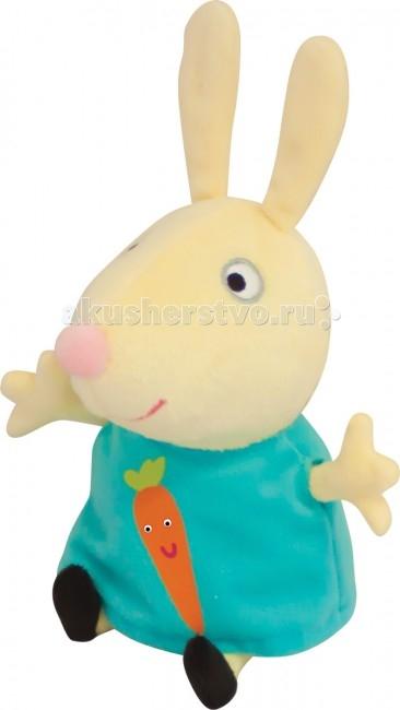 Мягкая игрушка Peppa Pig Ребекка с морковкой 20 смРебекка с морковкой 20 смМягкая игрушка Peppa Pig Ребекка с морковкой, с которой можно весело играть, развивая навыки общения и воображение. С любимым героем малютка будет делиться своими маленькими секретиками и безмятежно спать ночью – ведь в обнимку с плюшевым другом сон гораздо слаще!  Особенности: Мягкая игрушка «Кролик Ребекка» имеет высоту 20 см (размер указан с ножками) и очень приятна на ощупь, так как изготовлена из нежной велюровой ткани и плотно набита.  Глазки, носик и ротик Ребекки выполнены в виде плотной вышивки, а на ее платьице красуется яркая аппликация в виде морковки.  Товар сертифицирован.<br>