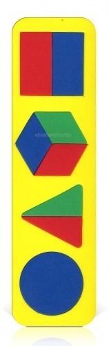 Бомик Вкладыш Геометрические фигурыВкладыш Геометрические фигурыБомик Вкладыш Геометрические фигуры. Красочная рамка-вкладыш выполнена из абсолютно безопасного, нетоксичного, мягкого и прочного материала. Она не ломается и не пачкает руки.  Играя вместе с ребенком, вы сможете дать ребенку представление о форме предметов, познакомите его с геометрическими фигурами.  Собирая рамку-вкладыш, вы поможете ребенку развивать память, воображение, пространственное и логическое мышление, моторику пальчиков. Яркие детали игры познакомят ребенка с основными цветами. Рамку-вкладыш (без вкладышей) можно использовать в качестве трафарета.<br>