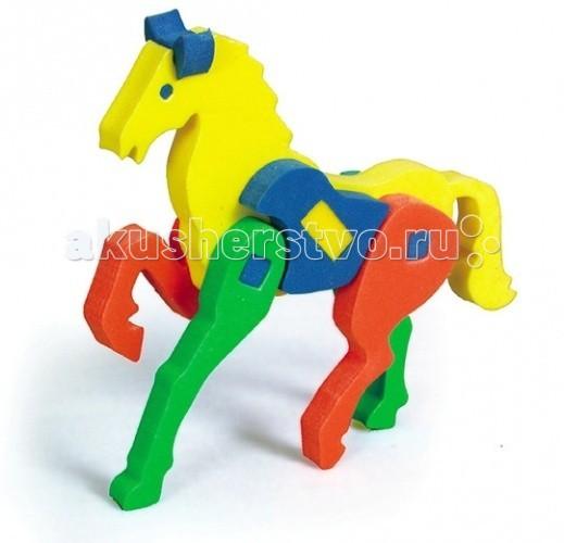 Конструктор Бомик Объемный КоньОбъемный КоньКонструктор Бомик Объемный Конь. Объемный конструктор Конь - это набор ярких и мягких деталей для создания скакового коня с длинными ногами и стройной фигурой.  Особенности: изготовлен из мягкого, прочного, нетоксичного, абсолютно безопасного вспененного полимера детали имеют закругленные края детали легко крепятся друг к другу за счет выступов и отверстий в мягких фигурах детали яркие, разноцветные, используются основные цвета: красный, желтый, зеленый, синий помогает выучить основные цвета с данным набором ребенок сможет самостоятельно собрать скакового коня в набор входят детали туловища, ног, головы и хвоста развивает мелкую моторику, координацию, учит соотносить форму и размер предназначен для детей от 3 лет.<br>