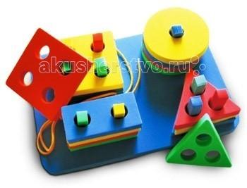 Конструктор Бомик ПирамидыПирамидыКонструктор Бомик Пирамиды. Простой небольшой конструктор с детальками ярких цветов для малышей.  Особенности: конструктор выполнен из мягкого, прочного, нетоксичного, абсолютно безопасного для детей материала конструктор включает в себя 4 круга с одним отверстием, 4 прямоугольника с двумя отверстиями, 4 треугольника с тремя отверстиями, 4 квадрата с четырьмя отверстиями разных цветов основные цвета фигур - красный, желтый, зеленый, синий на подставке закреплено 10 разноцветных прямоугольных стоек, расположенных определенным образом.  Игровые возможности: фигурки можно снимать и обратно надевать на стойки, делая пирамидку изучение основных геометрических фигур и цветов каждая фигурка наденется на определенные штырьки можно продевать шнурок в отверстия фигурок.  В комплекте: подставка 4 квадрата 4 треугольника 4 круга 4 прямоугольника шнурок.  Размеры: подставка 20 х 14 х 0,5 см, длина шнурка 30 см, квадрат 7 х 7 см, диаметр круга 7 см, треугольник 7 х 7 х 7 см, прямоугольник 7 х 3,5 см, диаметр отверстий 1,5 см<br>