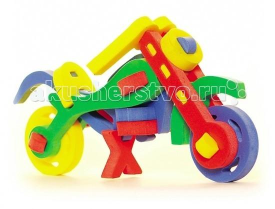 Конструктор Бомик Объемный МотоциклОбъемный МотоциклКонструктор Бомик Объемный Мотоцикл. Объемный конструктор Мотоцикл - мягкий, яркий и безопасный конструктор для детей от 3 лет.  Особенности: изготовлен из мягкого, прочного, нетоксичного, абсолютно безопасного вспененного полимера детали легко крепятся друг к другу за счет выступов и отверстий в мягких фигурах детали яркие, разноцветные, используются основные цвета: красный, желтый, зеленый, синий помогает выучить основные цвета с данным набором ребенок сможет самостоятельно собрать мотоцикл развивает мелкую моторику, координацию, учит соотносить форму и размер в набор входят детали колес, рамы, руля, сиденья и т.д. предназначен для детей от 3.<br>