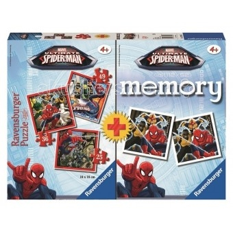 Ravensburger Пазл+Мемори Человек-паукПазл+Мемори Человек-паукПазл с функцией запоминания Человек-паук от Ravensburger - игра, развивающая память в игровой форме.   Ее суть очень проста. Необходимо перемешать все карточки, а потом разложить их на столе, «рубашками» вверх.  После этого все карточки ненадолго открываются, чтобы спустя пару секунд вновь вернуться в изначальное положение.   Первый игрок переворачивает любые две карточки.   В том случае, если изображения на них совпадают, он продолжает игру до тех пор, пока не перевернет две разные картинки.   Тогда ход переходит к следующему игрок.   В комплекте:  3 пазла (15, 20 и 25 элементов) 48 карточек (24 пары) для игры в мемори инструкция<br>