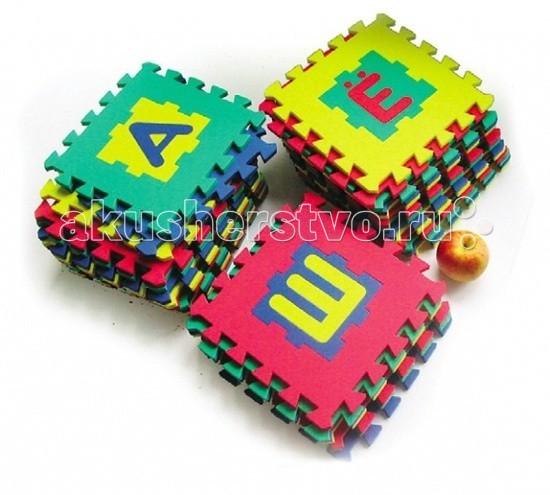 Игровой коврик Бомик Алфавит 28 х 28 смАлфавит 28 х 28 смИгровой коврик Бомик Алфавит 28 х 28 см. Этот мягкий компактный коврик состоит из 32 частей, которые соединяются друг с другом по принципу пазла. В центре каждой детали коврика расположена одна из букв русского алфавита.   В связи с этим коврик Бомик выполняет несколько функций:  защитную. Коврик Бомик выполнен из мягкого вспененного полимера. Его можно расстилать на полу, чтобы во время игры под ребенком была теплая, нетвердая, чистая поверхность обучающую. Коврик Бомик с буквами в прямом смысле слова «несет в себе» знания. На каждой его детали, прямо по центру, расположена одна из букв русского алфавита. Буквы – тоже детали, их можно выдавливать наружу, разглядывать, называть, складывать в слоги развивающую. Из деталей коврика Бомик можно составлять некоторые геометрические фигуры и цепочки со словами. Поэтому, играя с ковриком, ребенок развивает речь, пространственное восприятие, логическое мышление, а также координацию движений.   Размер каждой детали – 29 х 29 х 1 см<br>
