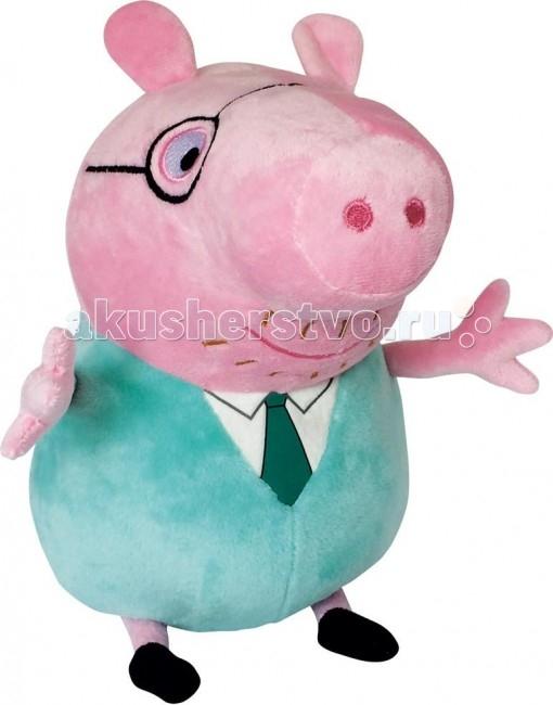 Мягкая игрушка Peppa Pig Папа Свин с галстуком 30 смПапа Свин с галстуком 30 смМягкая игрушка Peppa Pig Папа Свин с галстуком 30 см станет замечательным подарком для малышки. С ним можно играть и дома, и детском саду, а если приобрести других членов семьи Пеппы, то игра станет во много раз интереснее. Обыгрывая семейные взаимоотношения, детки обмениваются приобретенным опытом, усваивают семейные ценности и развивают фантазию.  Особенности: Галстук папы Свина представляет собой рисунок (шелкографию). Игрушка имеет высоту 30 см (размер указан с ножками) и очень приятна на ощупь, так как изготовлена из велюровой ткани и плотно набита.  Товар сертифицирован.<br>