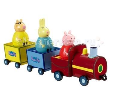 Peppa Pig Игровой набор Поезд Пеппы-неваляшкиИгровой набор Поезд Пеппы-неваляшкиPeppa Pig Игровой набор Поезд Пеппы-неваляшки станет замечательным подарком для малышки.  Особенности: В поезде есть 3 круглых сидения: по одному в локомотиве и двух отцепных вагончиках – они прекрасно подходят как для неваляшек, так и для обычных фигурок из серии «Peppa Pig».  Когда поезд движется, вагончики забавно покачиваются, а Пеппа-неваляшка покачивается и вращается, не выпадая.  Покрутите фигурку свинки на столе или полу, и она «затанцует», закрутится, закачается в разные стороны и даже не подумает упасть.  Игра с такой очаровательной фигуркой подарит ребятишкам море радости и поможет развивать мышление и координацию движений. Набор совместим с фигурками друзей Пеппы из серии Weebles.  Упаковка – подарочная открытая коробка. Товар сертифицирован.  В игровом наборе 4 предмета:  Паровозик 2 отцепных вагончика на колесиках Пеппа-неваляшка размером 7,8 х 4,5 см Длина поезда: 33 х 7,8 х 8,5 см.<br>
