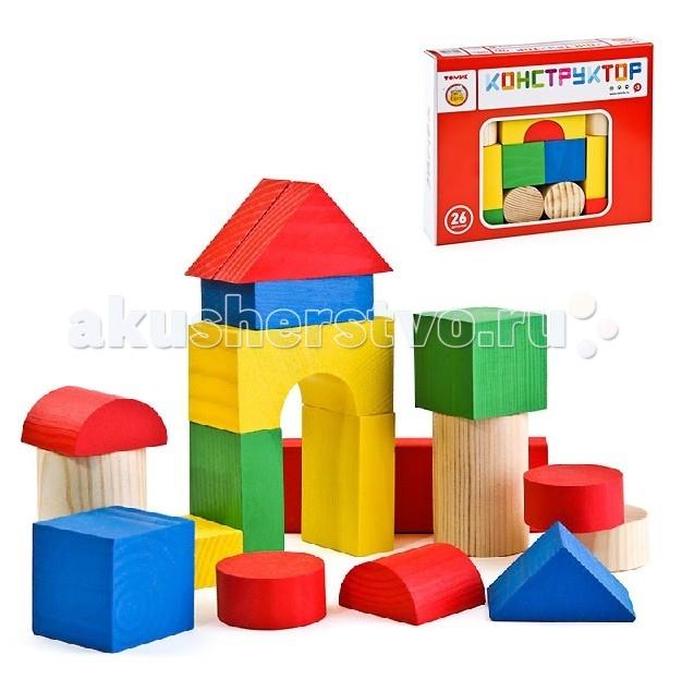 Деревянная игрушка Томик Конструктор Цветной 26 деталейКонструктор Цветной 26 деталейКонструктор Томик 6678-26 Цветной 26 дет.  В наборе имеются разноцветные детали разного размера и формы.  Детали набора изготовлены из экологически чистой хвойной древесины. Игра способствует развитию координации движений обеих рук и мелкой моторики, пространственного и образного мышления, воображения.  Деревянные конструкторы компании Томик можно комбинировать между собой. Большое количество деталей позволит детям не ограничивать свои фантазии и создавать более сложные постройки.<br>