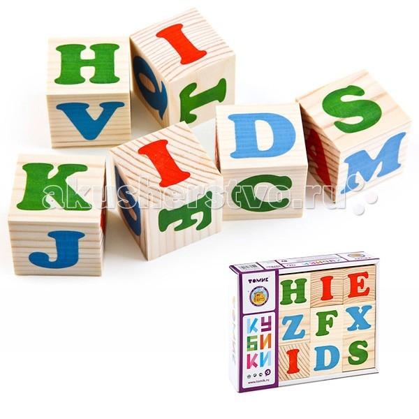Деревянная игрушка Томик Кубики Алфавит английский 12 штук