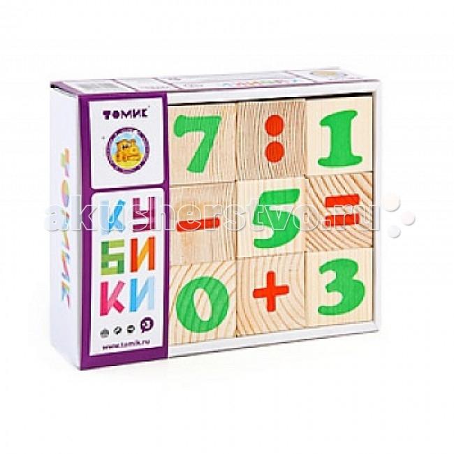 Деревянная игрушка Томик Кубики Цифры 12 штук
