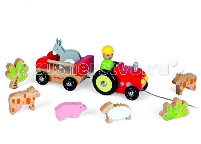 Каталка-игрушка Janod Трактор с животнымиТрактор с животнымиКаталка на веревочке Трактор с животными от французской компании Janod может стать одной из самых любимых игрушек Вашего малыша.Эта забавная каталка-паровоз поможет малышу изучить цвета и формы, научит сортировать элементы по назначению.  Кто сказал, что трактор может ездить только по дорогам? А если маленькому водителю нужно доставить своих друзей-зверюшек в другую комнату, или покатать по детской площадке?  Для этого подойдет каталка на веревочке Трактор с животными. Трактор и прицеп имеют основание цвета натурального дерева с двумя колесными парами черного цвета. Колеса вращаются. Трактор и прицеп соединяются друг с другом посредством пластмассового крючка. В комплект входят фигурки животных фермы: водитель, 2 пятнистых коровы, серый ослик, розовая свинка, белая овечка, куст и дерево. Состав оснащен прочной шелковистой веревкой.  Особенности каталки-игрушки: - изготовлена из натуральной древесины - окрашена безопасными для ребенка красками - состоит из трактора и открытого прицепа - упакована в эксклюзивную подарочную коробку с прозрачным окошком.  Размер игрушки (ШхГхВ): 0.27 x 0.10 x 0.11 Вес: 0.83 кг  Материал: дерево, краски на водной основе<br>