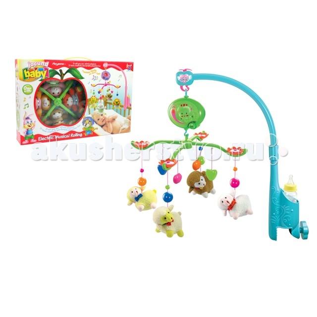 Мобиль Henglei  Овечки с батарейкамиОвечки с батарейкамиМузыкальный мобиль Овечки с батарейками.  Помогает им в развитии фиксирования зрения на движущихся предметах, улучшает засыпание. Цветные игрушки привлекут его внимание, а звук мелодии позволит ребёнку успокоиться.   Характеристики: мягкие игрушки - овечки музыкальный блок с регулировкой звука держатель для бутылки на батарейках выполнены из безопасных материалов высокого качества<br>