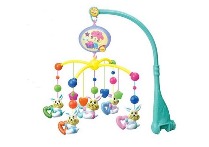 Мобиль Henglei  Зайчики с батарейкамиЗайчики с батарейкамиМузыкальный мобиль Зайчики с батарейками.  Помогает им в развитии фиксирования зрения на движущихся предметах, улучшает засыпание. Цветные игрушки привлекут его внимание, а звук мелодии позволит ребёнку успокоиться.   Характеристики: пластиковые игрушки - зайчики-погремушки музыкальный блок с регулировкой звука на батарейках выполнены из безопасных материалов высокого качества<br>